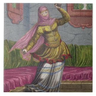 Tchinguis, or Turkish dancer, 18th century (engrav Large Square Tile