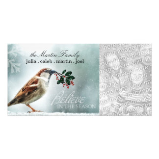 TCWC - Holiday Snowy House Sparrow Personalized Photo Card