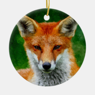 TCWC - Red Fox Watercolor Painting Custom Year Round Ceramic Decoration
