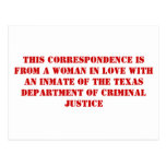 TDCJ correspondence #1 Postcard