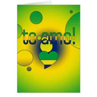Te Amo! Brazil Flag Colors Pop Art Card