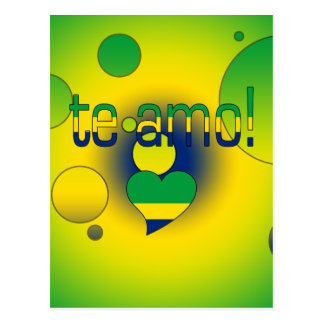Te Amo! Brazil Flag Colors Pop Art Postcard
