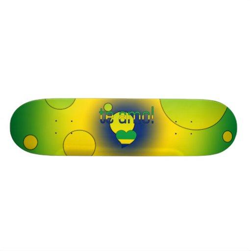 Te Amo! Brazil Flag Colors Pop Art Skate Deck