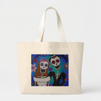 TE AMO WEDDING DIA DE LOS MUERTOS LARGE TOTE BAG