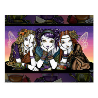 Tea 4 Three Eccentric KiKi Party Fairies Postcard