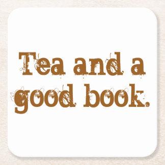 'Tea and a good book' coaster Square Paper Coaster