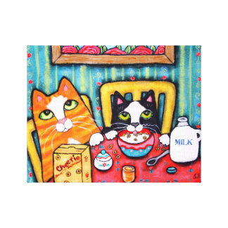Tea and Cereal Cats Wrapped Canvas Stretched Canvas Print