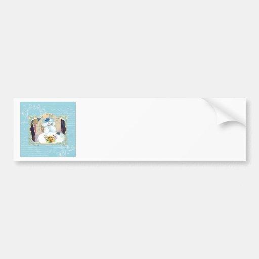 Tea and Crumpets White Poodle Tea Party Bumper Sticker