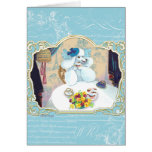 Tea and Crumpets White Poodle Tea Party Card