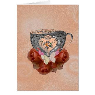 Tea and Roses Peach Greeting Card