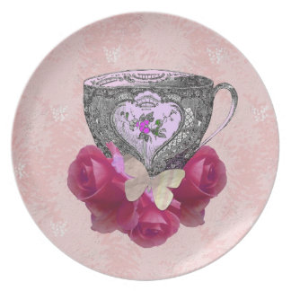 Tea and Roses Pink Party Plates