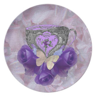 Tea and Roses Purple Party Plate
