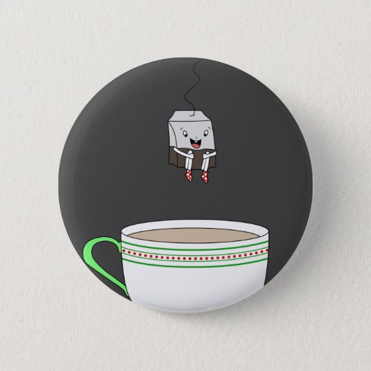 Tea bag jumping in cup of tea 6 cm round badge