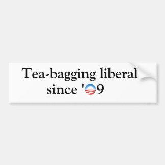 Tea-bagging liberals car bumper sticker