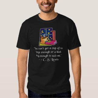 Tea & Books w Quote Dark T, 6 colors, YXS - 6XL T Shirts