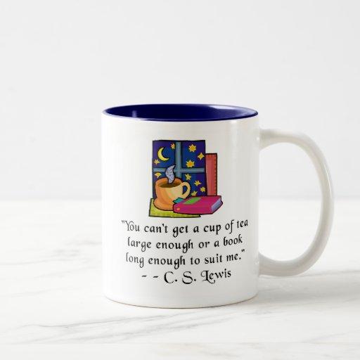 Tea & Books w Quote Two-toned Mug, 6 colors, 2 siz