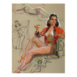 Tea Break Pin Up Art Postcard
