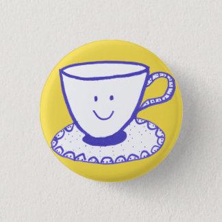 tea cup 3 cm round badge