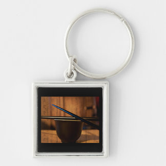 Tea Cup and Sticks Silver-Colored Square Key Ring