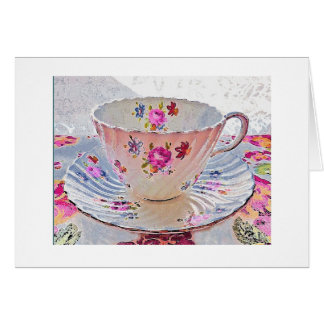 Tea Cup Black Note Card