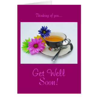 Tea cup & daisies: Get well soon! Card
