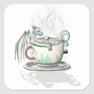 Tea Cup Dragons: Peppermint (Clear) Square Sticker