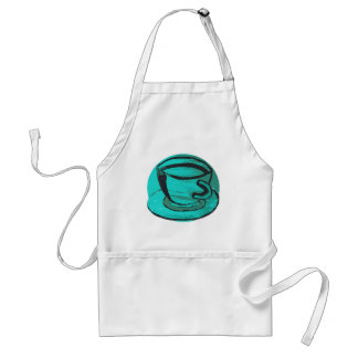 tea cup in green standard apron