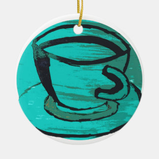 tea cup in green christmas ornament