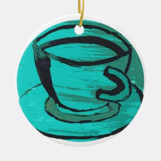 tea cup in green round ceramic decoration