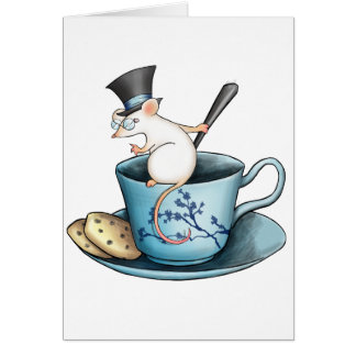 Tea Cup Mouse in Tophat Greeting Cards