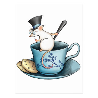 Tea Cup Mouse in Tophat Postcards