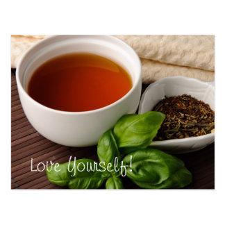 Tea Cup Tea Leaves Herbs Tea Towel on Bamboo Mat Post Cards