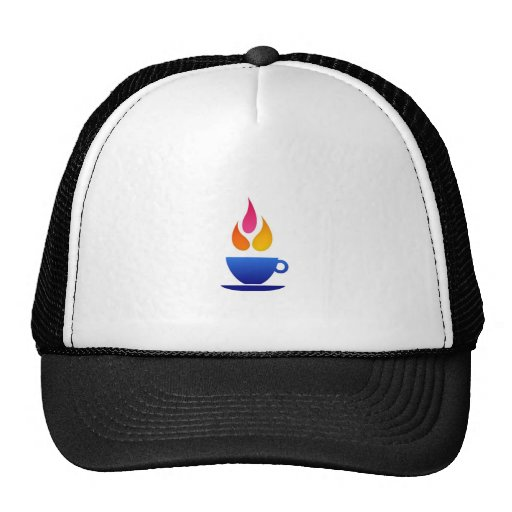 Tea cup with colorful flames mesh hats