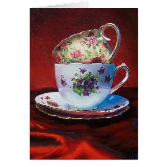 Tea Cups and Red Satin Card