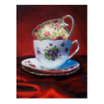Tea Cups and Red Satin Postcard