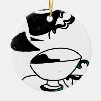 tea cup's round ceramic decoration
