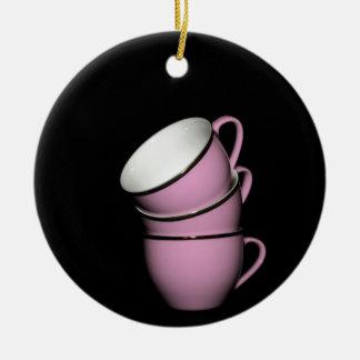 Tea cups round ceramic decoration