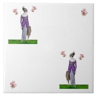 Tea Dress & Cherry Blossoms Trivet Large Square Tile