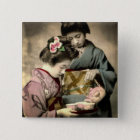 Tea for Two Geisha in Old Japan Vintage Japanese 15 Cm Square Badge