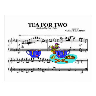 Tea For Two Teacups ~ Sheet Music Background Postcard