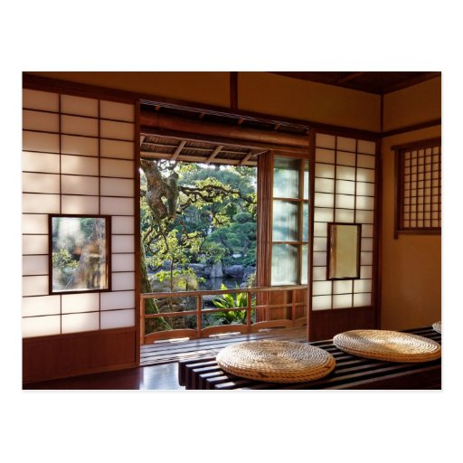 Tea house in spring postcard