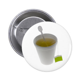 Tea in a disposable cup 6 cm round badge