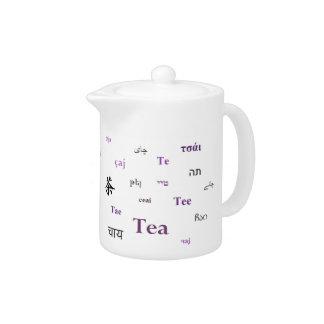 Tea in many languages teapot - Purple