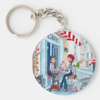 Tea in Paris Basic Round Button Key Ring