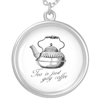 Tea is just gay coffee round pendant necklace