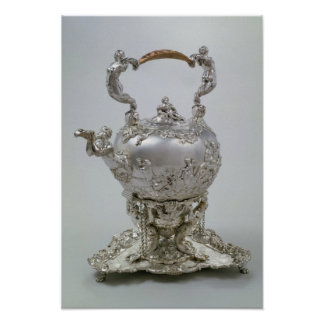 Tea kettle and stand by C.Kandler, London, 1730 Poster