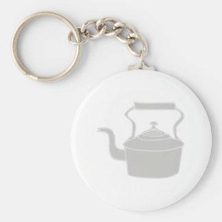 Tea Kettle Basic Round Button Key Ring