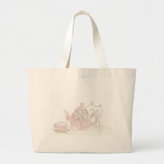 Tea Kettle Kitten Canvas Bags