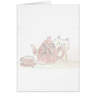 Tea Kettle Kitten Greeting Cards