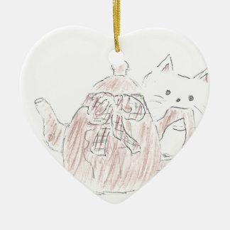 Tea Kettle Kitten Ceramic Heart Decoration